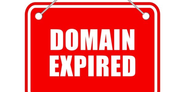 Domain expired vector hanging sign isolated on white background